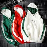 Sweater Kaos Hoodie Patchwork Ukuran Besar Lengan Panjang untuk