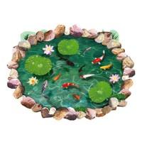 Stiker Dinding dengan Bahan PVC Tahan Air dan Gambar Kolam Ikan 3D