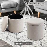 Kursi sofa bulat pouf penyimpanan Bestottoman - Kain Krem
