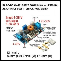 Step DOWN Buck 1,25-36V DC-DC Adj. Volt and Display Voltmeter+Heatsink