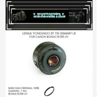 Lensa Yongnuo EF YN 50MM F1.8 For Canon BOnus FILter UV-Lensa Fix