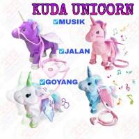 Mainan Boneka Kuda Unicorn Musik Goyang Jalan Edukasi Anak SNI
