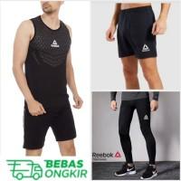 3++ Singlet Body REEBOK (+) Celana Sport (+) Legging -kaos gym running