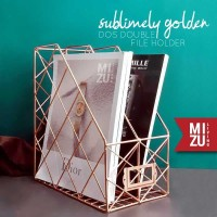 SUBLIMELY GOLDEN DOS DOUBLE WIRE Magazine File Stand Box Emas A4 - SG DOS HOLD YG