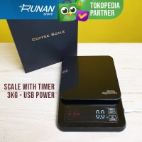Timbangan Digital USB Power 3kg Kitchen Scale With Timer Max 3 kg