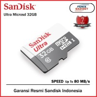 Sandisk Micro SD Card 32gb 80MBps Class 10 Tanpa Adaptor