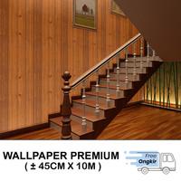 Wallpaper Dinding Stiker Kayu Tua Coklat 3D 45cmx10m