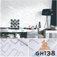 Home Wallpaper Sticker Dinding White Box - 45cm x 10m - Kotak Putih 3D