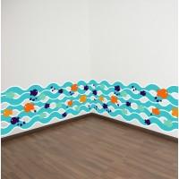 Stiker Dinding dengan Bahan Mudah Dilepas dan Gambar Ikan Warna Biru