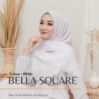 Kerudung Segi Empat Polos - White | Hijab Bella square Putih Polos
