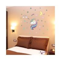 Stiker Dinding Decal Desain Unicorn Pelangi untuk Kamar Anak Perempuan