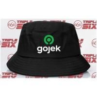 Topi BUCKET HAT polos custom GOJEK 2 WRN indonesia pria wanita distro