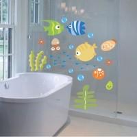 Stiker Dinding dengan Bahan PVC Mudah Dilepas Gambar Ikan Tropis 3D