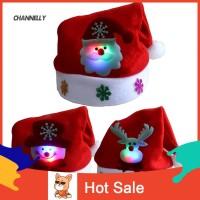 Topi Santa Claus Natal dengan Lampu LED untuk Anak / Dewasa