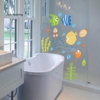 Ov-bathroom Stiker Dinding Desain Kartun Ikan untuk Kamar Anak
