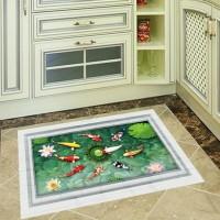 Stiker Dinding Decal Desain Kolam Ikan 3D untuk Dapur & Kamar Mandi