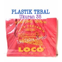TEBAL MERAH uk 35 LOCO Plastik kresek kantong bag shop blanja TP159