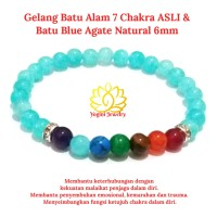 Gelang Batu Natural 7 Cakra Chakra ASLI Batu Blue Agate Natural 6mm