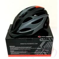 Helm Sepeda Dewasa Polygon Cliff - Matt Black-Orange - M