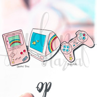 Pin Mainan Jadul Pink Joystick Gameboy PC Lucu Unik GH 208257