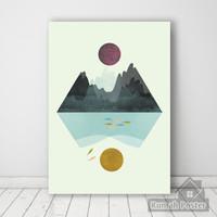 Geometric Pemandangan 02 | Poster kayu dekorasi ruangan |