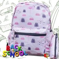 Tas Ransel Anak Remaja Tas Ransel Backpack Impor Motif Flamingo Pink