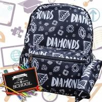 Tas Ransel Anak Remaja Tas Ransel Backpack Impor Motif Diamond Hitam