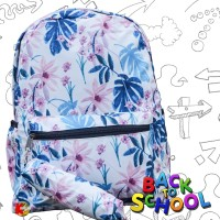 Tas Ransel Anak Remaja Tas Ransel Backpack Impor Motif Daun Biru