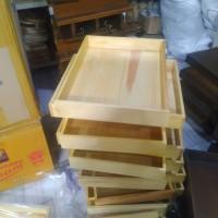 Nampan / Baki / Tray Kayu Pinus 40 x 30 datar tanpa lubang pegangan