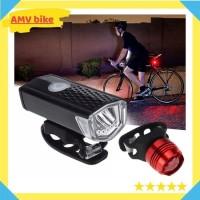 Paket Lampu Depan Belakang LED Sepeda USB Rechargeable