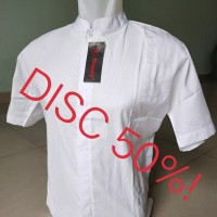Kemeja / Baju Koko Muslim Rommy Pria - Putih Polos