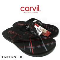 Sandal Pria Carvil Original Anti Air - Sendal Carvil Tartan Red