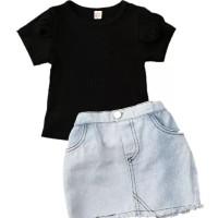 setelan baju bayi anak rok jeans black blue imut