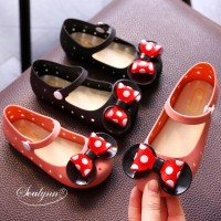 Sepatu Anak Perempuan Flat Shoes Minnie BOW Jelly Shoes Usia 1,5-4thn