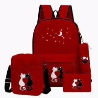 TAS RANSEL WANITA BACKPACK FASHION KOREA SCHOOL MIAW CAT KPOP 4IN1 SWA