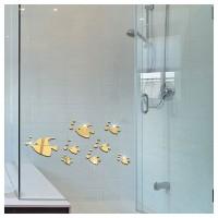 8Pcs Stiker Dinding Decal Desain Tropical Fish Efek Cermin 3D