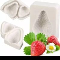 Cetakan Silikon Puding Coklat Buah Strawberry 3D