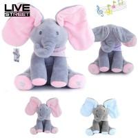 Livestreet Mainan Boneka Gajah Cilukba Telinga Panjang 30cm Bisa