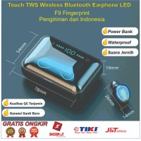 Earphone Blutooth F9-05 Fingerprint TWS LED Earbuds Headset Murah