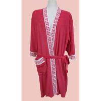 Kimono Handuk Mandi Dewasa Polos Pria dan Wanita (Berbagai List) - Merah, All Size
