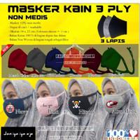 MASKER HIJAB KAIN 3 PLY TALI HIJAB, CUSTOM DESIGN LOGO/GAMBAR/FOTO - hijab 3ply
