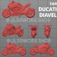 JL3D Motor Skala 1/64 Ducati Diavel utk Hotwheels Mini GT Tarmac