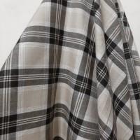 Kain Semi Wool Kotak ( Dasar Cream Garis Hitam/Putih )