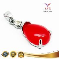 Liontin Batu Akik Merah Delima Siam Tetesan - VeE Pendant Wanita