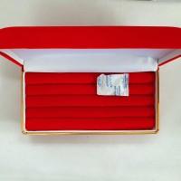 kotak perhiasan persegi panjang list gold tempat cincin besar