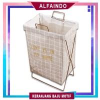 Keranjang Baju Cucian Pakaian Kotor Laundry Basket dengan Rangka KB010