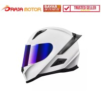 Snail Helm Fullface Seri FFS1 Spoiler DD Ring- Putih Kilap (Revo Blue)