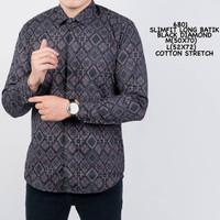 Kemeja Batik Pria Lengan Panjang Kemeja Batik Premium Quality Kantoran - Purple, M