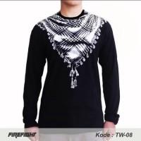 LENGAN PANJANG SORBAN - Baju Kaos Muslim Koko pria lebaran sorban 3D - Hitam