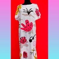 Daster kaktus lucu !! Long Ruffle homey dress/ LD 120 PB 130